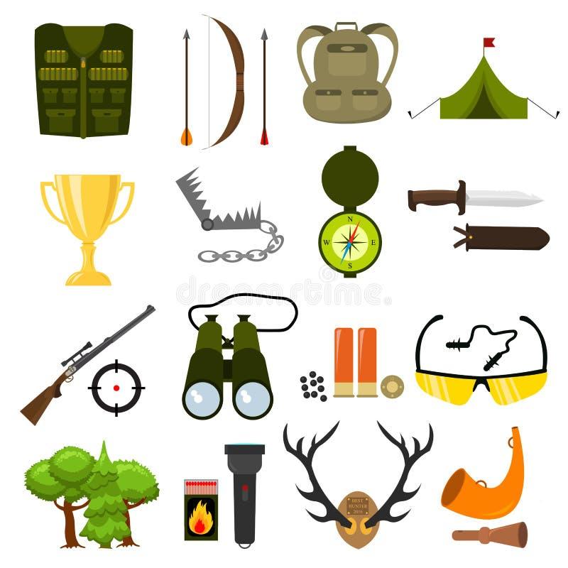 Icone piane di caccia di colore messe Illustrazione isolata di vettore Stile del fumetto royalty illustrazione gratis