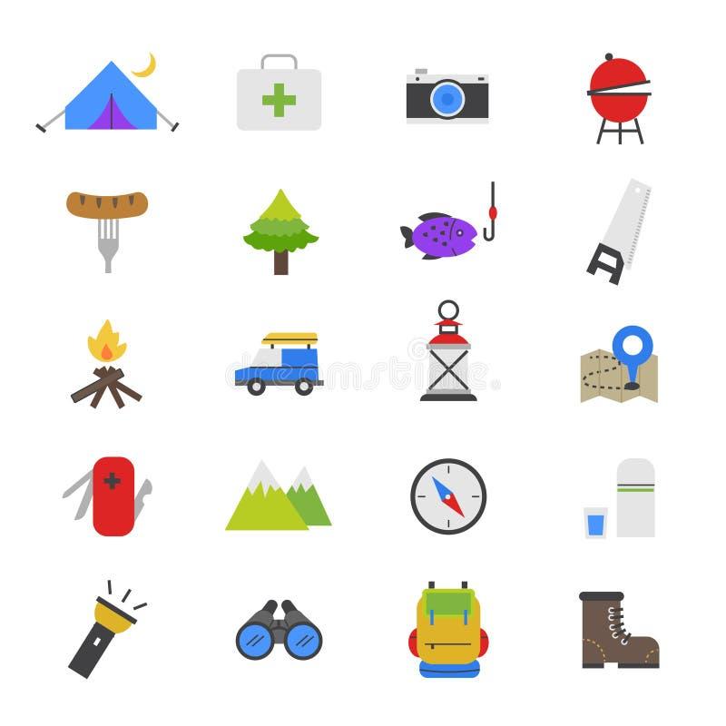 Icone piane di campeggio di colore illustrazione di stock