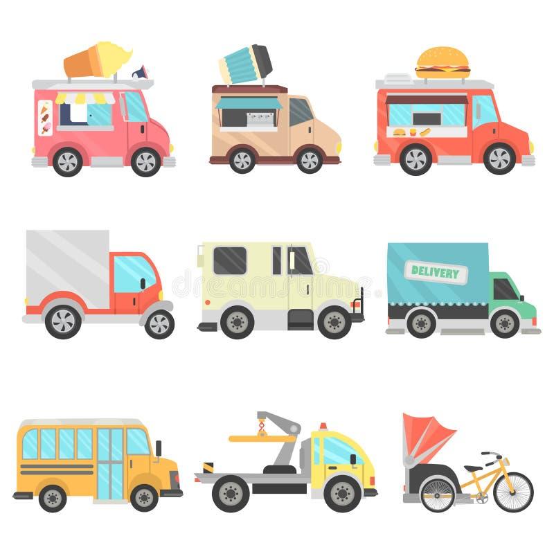 Icone piane di colore delle unità di trasporto urbano messe illustrazione di stock