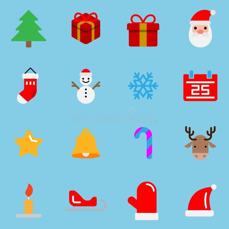16 icone piane di colore di stile messe nel tema di Natale, progettazione di vettore royalty illustrazione gratis