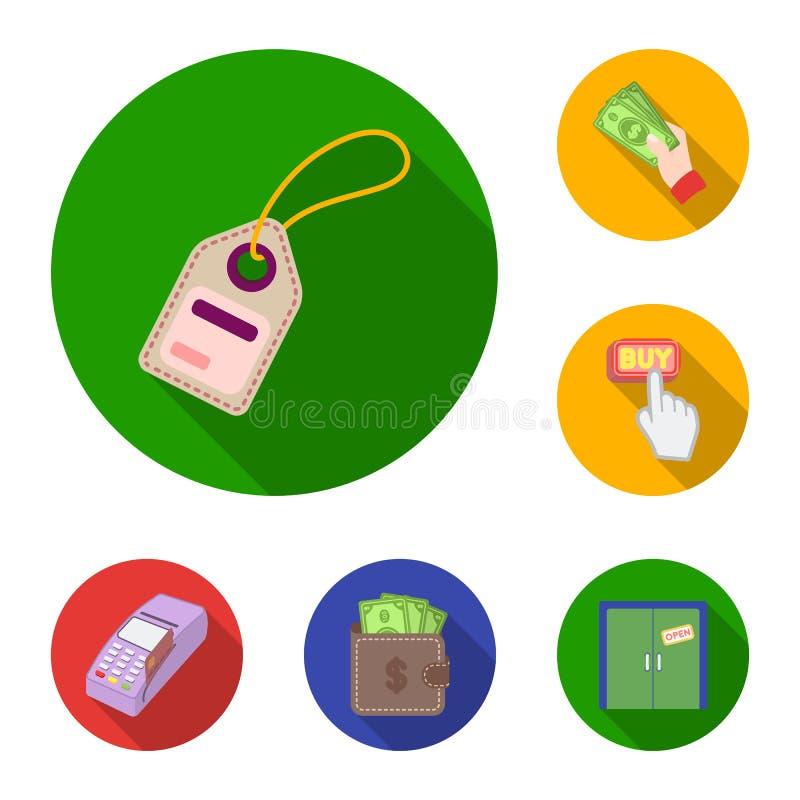 Icone piane di commercio elettronico, dell'acquisto e di vendita nella raccolta dell'insieme per progettazione Web di finanza e c illustrazione di stock