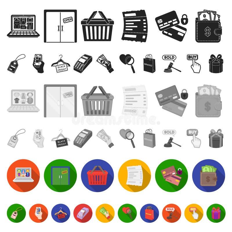 Icone piane di commercio elettronico, dell'acquisto e di vendita nella raccolta dell'insieme per progettazione Web di finanza e c royalty illustrazione gratis