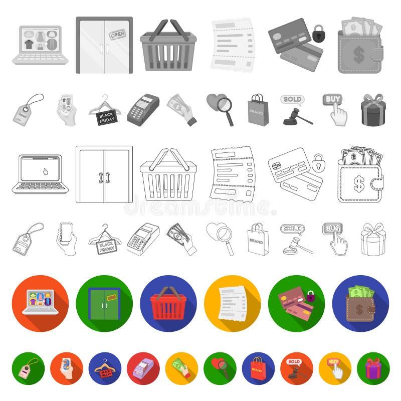 Icone piane di commercio elettronico, dell'acquisto e di vendita nella raccolta dell'insieme per progettazione Web di finanza e c illustrazione vettoriale