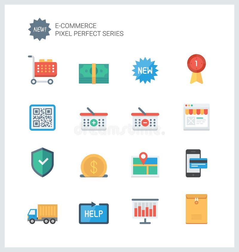 Icone piane di commercio elettronico perfetto del pixel illustrazione vettoriale