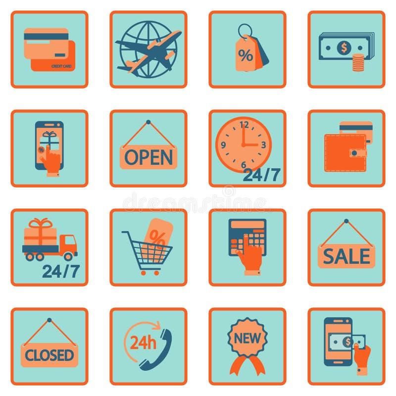 Icone piane di compera online di commercio elettronico Illustrazione di vettore illustrazione di stock