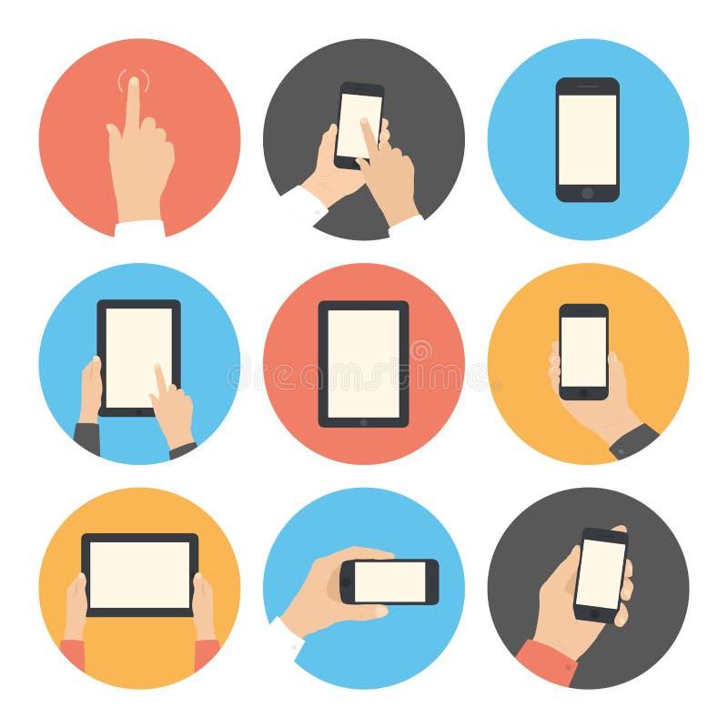 Icone piane di comunicazione su mezzi mobili messe illustrazione di stock