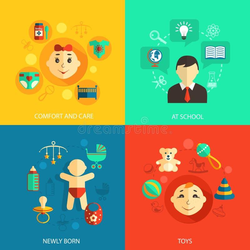 Icone piane di concetto dei bambini illustrazione di stock