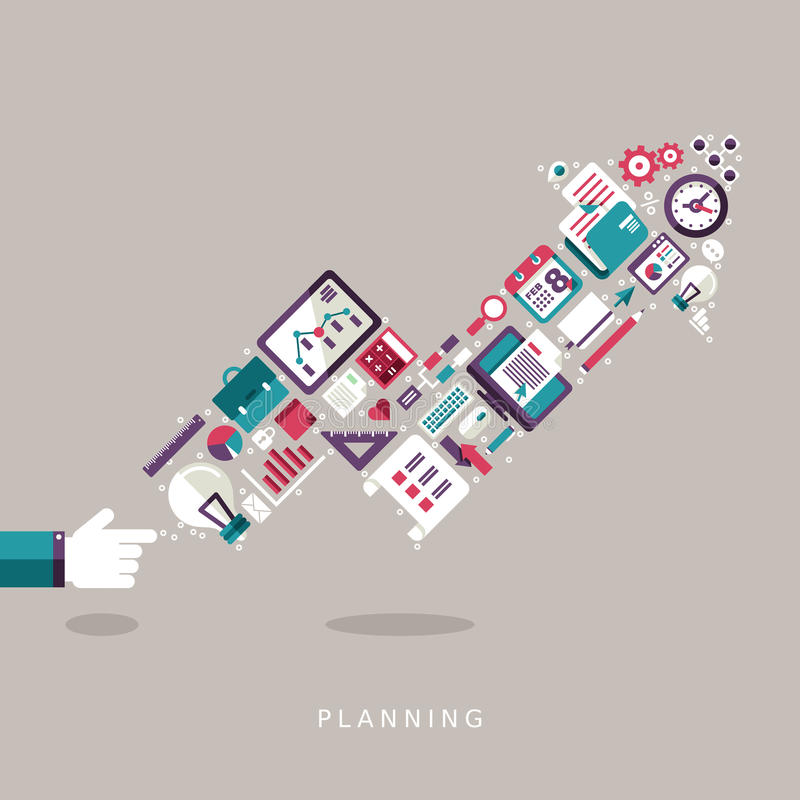 Icone piane di concetto di pianificazione di progettazione messe royalty illustrazione gratis