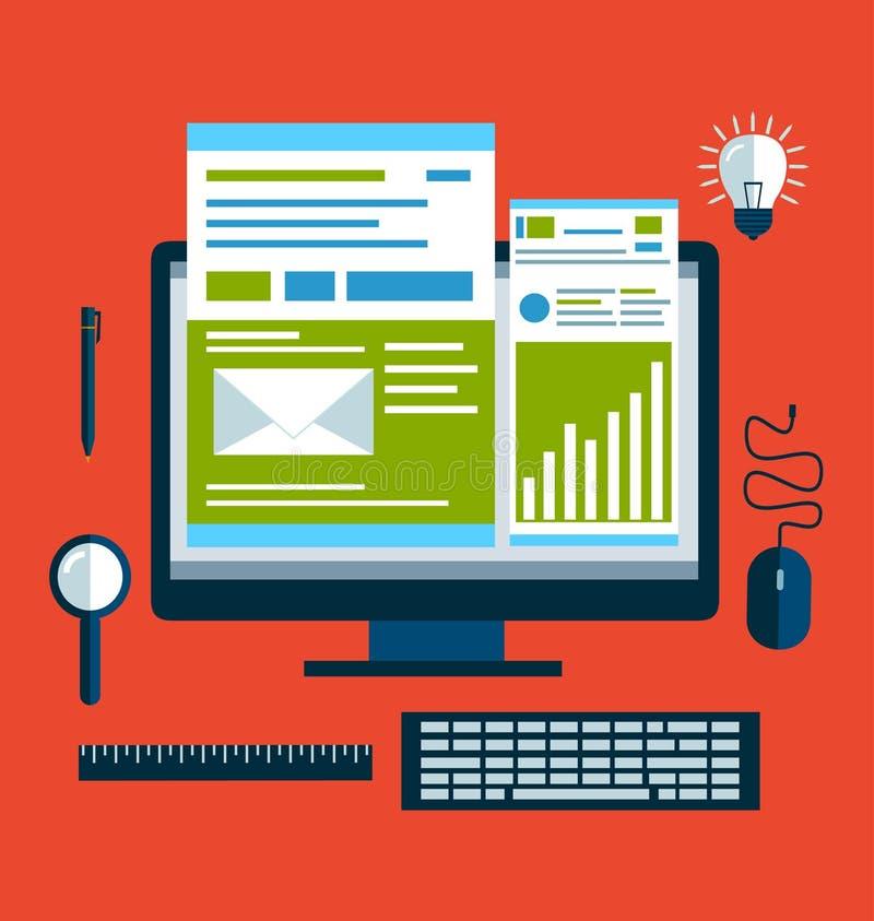 Icone piane di concetto di progetto per i servizi di telefono cellulare e di web e i apps illustrazione di stock