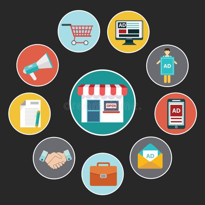 Icone piane di concetto di progetto per i servizi di telefono cellulare e di web e i apps Icone per l'introduzione sul mercato mo illustrazione vettoriale