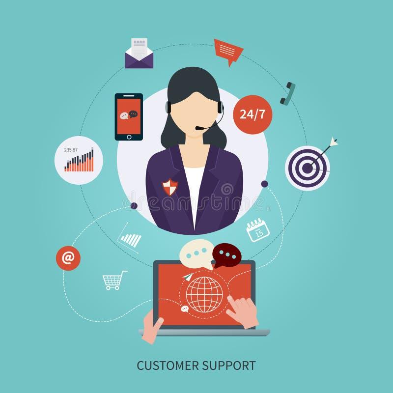 Icone piane di concetto di servizio di cura del cliente professionale illustrazione vettoriale