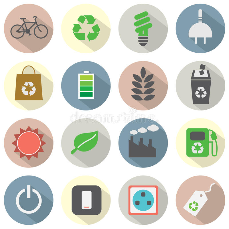 Icone piane di concetto di verde di progettazione royalty illustrazione gratis