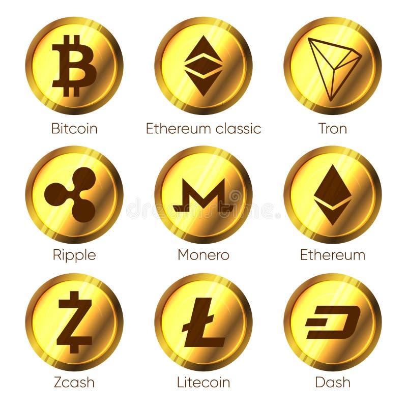 Icone piane di cryptocurrencies di zcash, un poco, tron, bitcoin, etere royalty illustrazione gratis