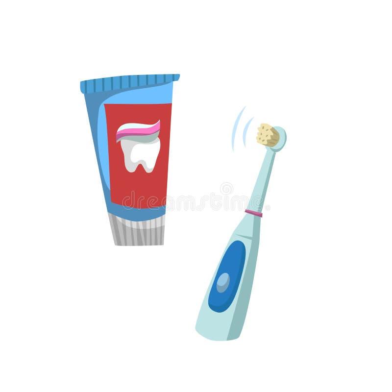 Icone piane di cura del dente di stile del fumetto messe Metropolitana con il tubo di dentifricio in pasta e lo spazzolino da den royalty illustrazione gratis