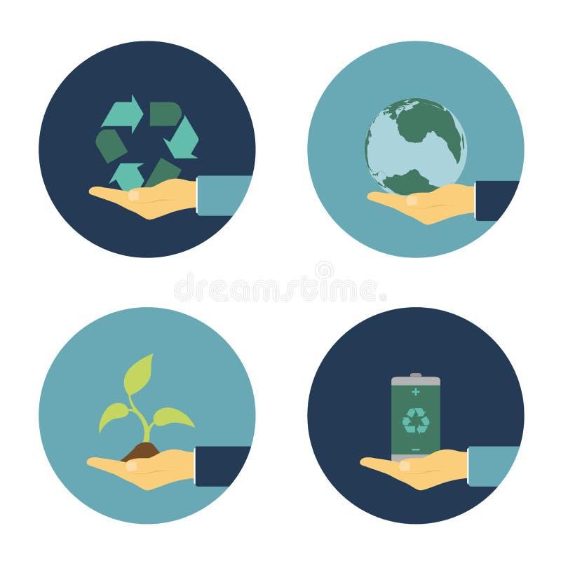 Icone piane di eco illustrazione di stock