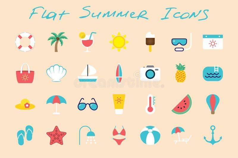 Icone piane di estate messe sul fondo di colore royalty illustrazione gratis
