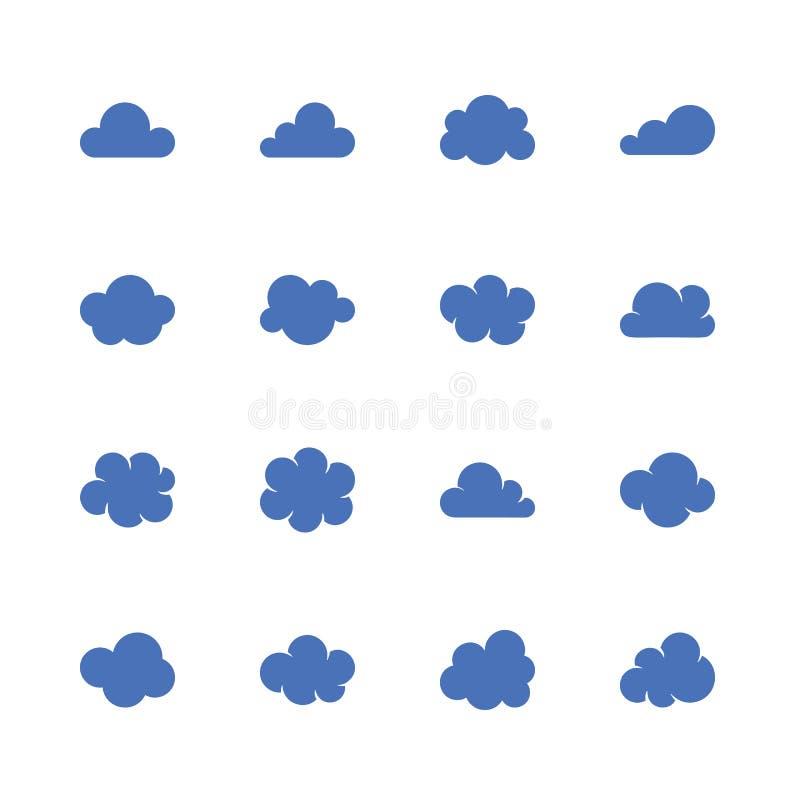 Icone piane di glifo della nuvola Simboli di Cloudssilhouette per archiviazione di dati, previsioni del tempo illustrazione vettoriale