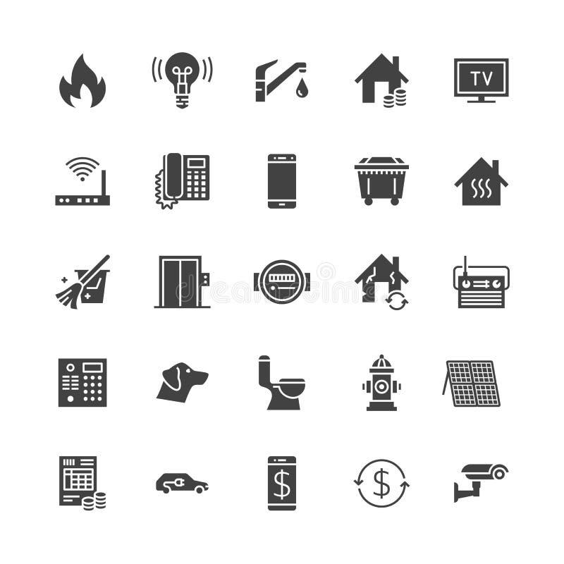 Icone piane di glifo di servizi di pubblica utilità Affitti la ricevuta, l'acqua dell'elettricità, il gas, il riscaldamento della illustrazione di stock