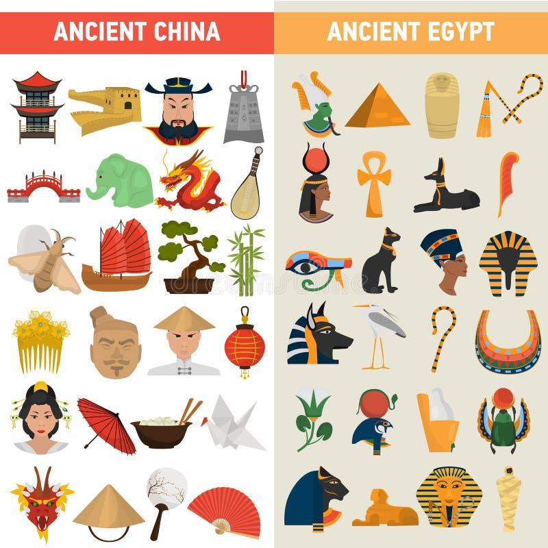 Icone piane di grande colore di civilizzazioni dell'Egitto e della Cina messe illustrazione di stock