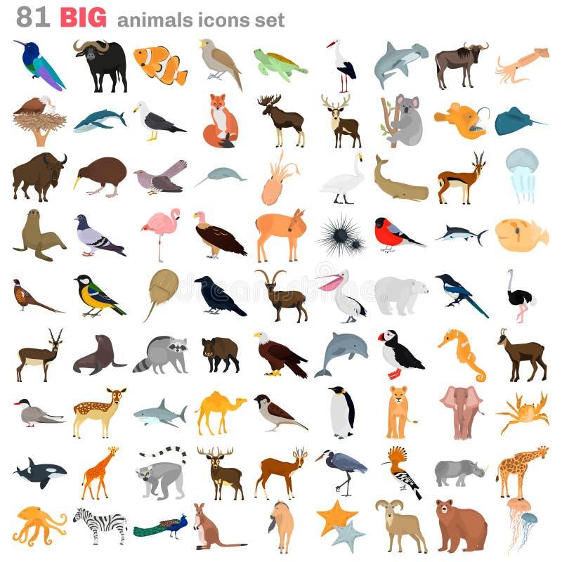 Icone piane di grande colore degli animali messe royalty illustrazione gratis