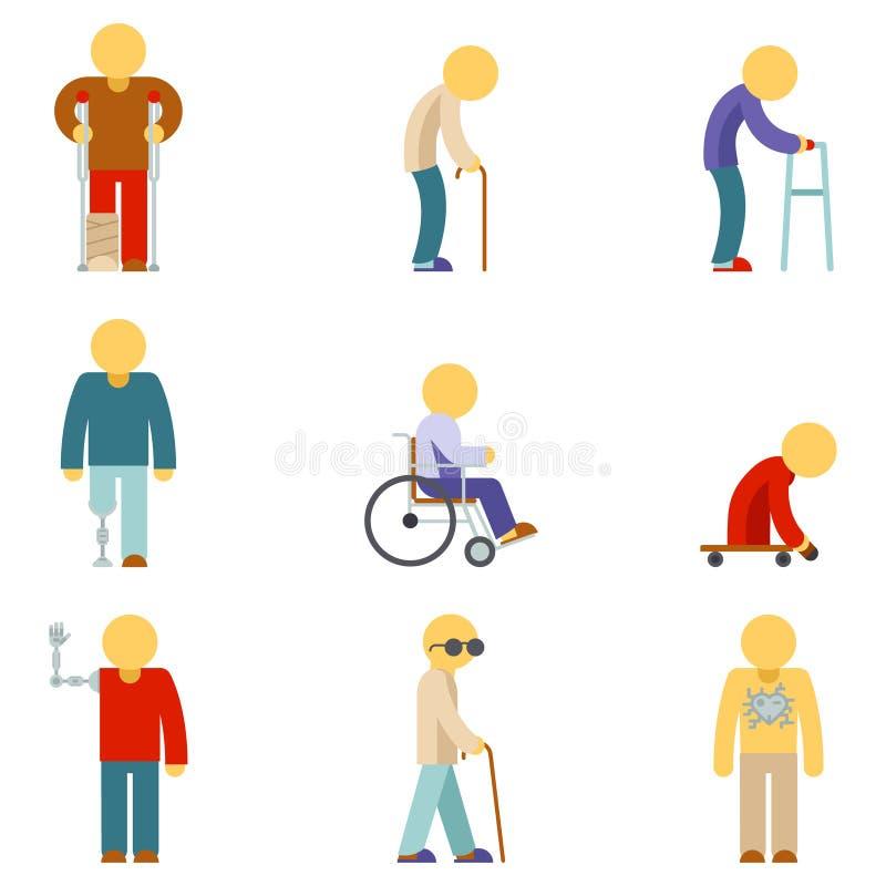 Icone piane di inabilità Segni della gente illustrazione vettoriale