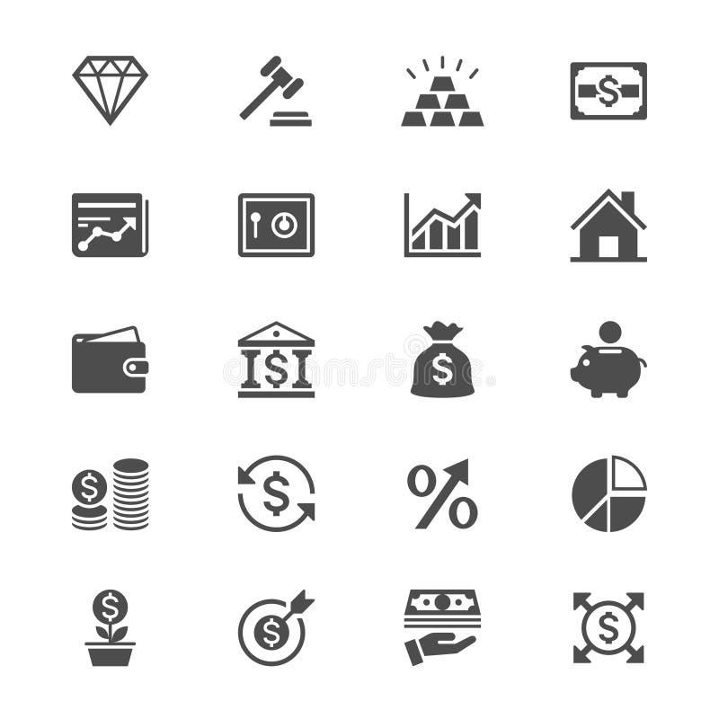 Icone piane di investimento e di affari illustrazione vettoriale