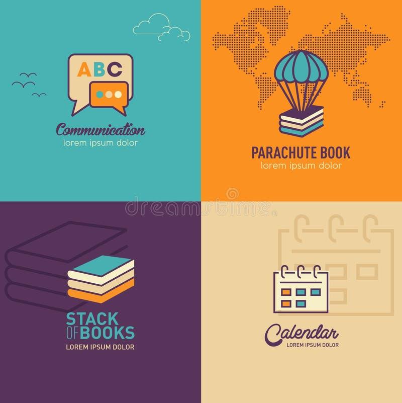 Icone piane di istruzione, fumetti icona, icona della pila di libro illustrazione di stock