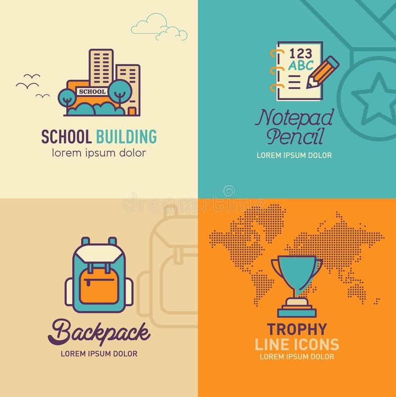 Icone piane di istruzione, icona dell'edificio scolastico, icona della matita del blocco note, icona dello zaino illustrazione di stock