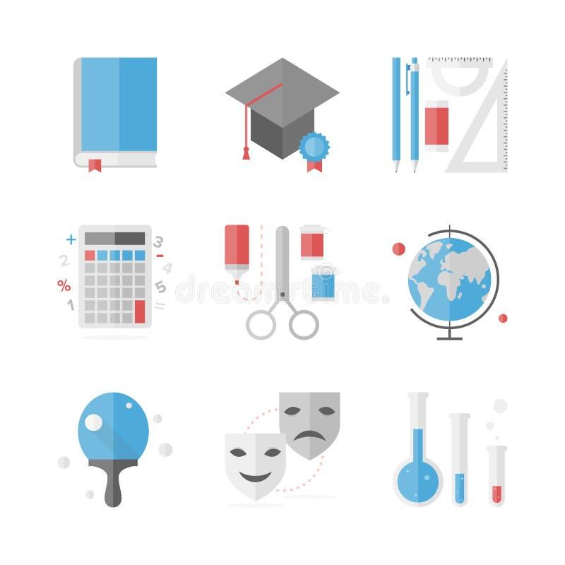 Icone piane di istruzione scolastica messe illustrazione vettoriale