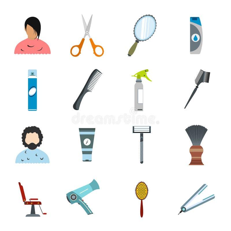 Icone piane di lavoro di parrucchiere messe illustrazione vettoriale