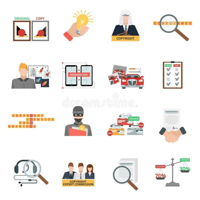 Icone piane di legge sui diritti di autore di conformità messe illustrazione vettoriale