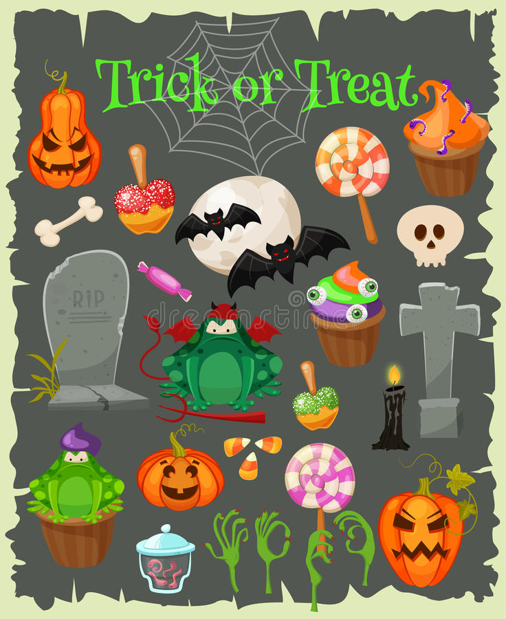 Icone piane di modo di Halloween royalty illustrazione gratis