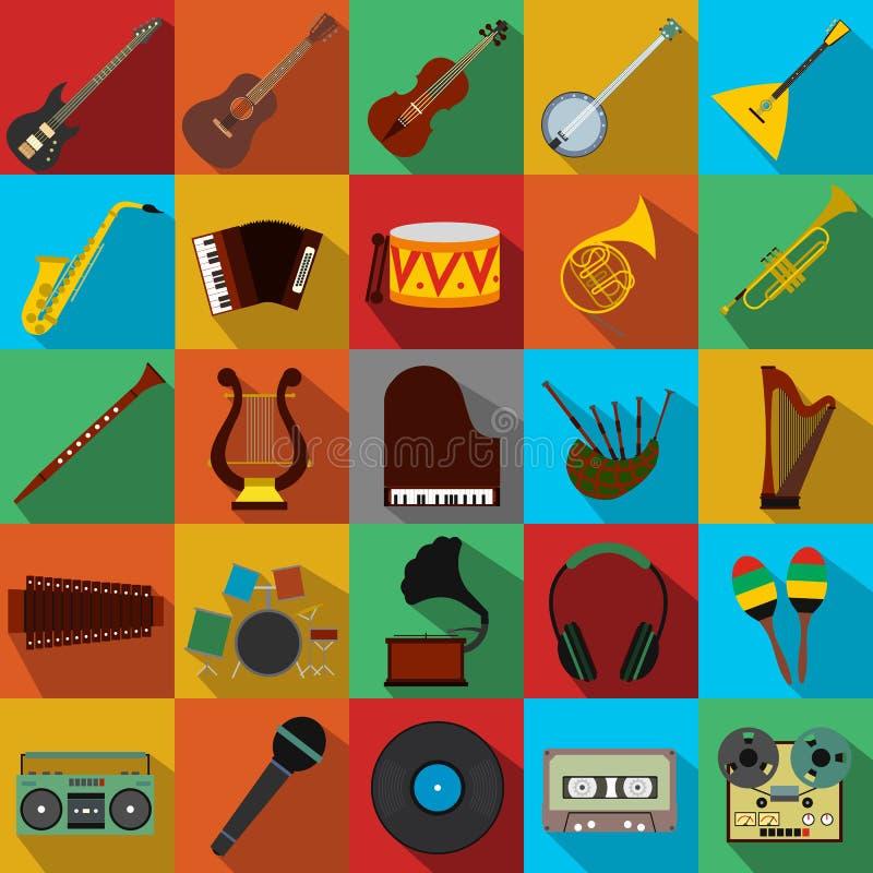 Icone piane di musica messe illustrazione vettoriale