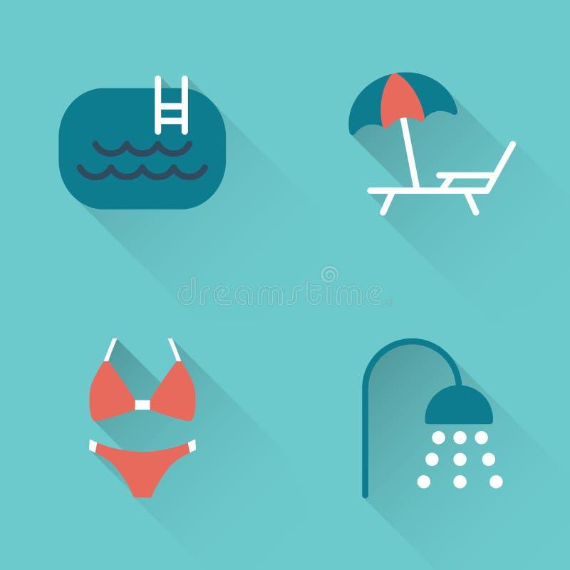 Icone piane di nuoto dello stagno su fondo blu royalty illustrazione gratis