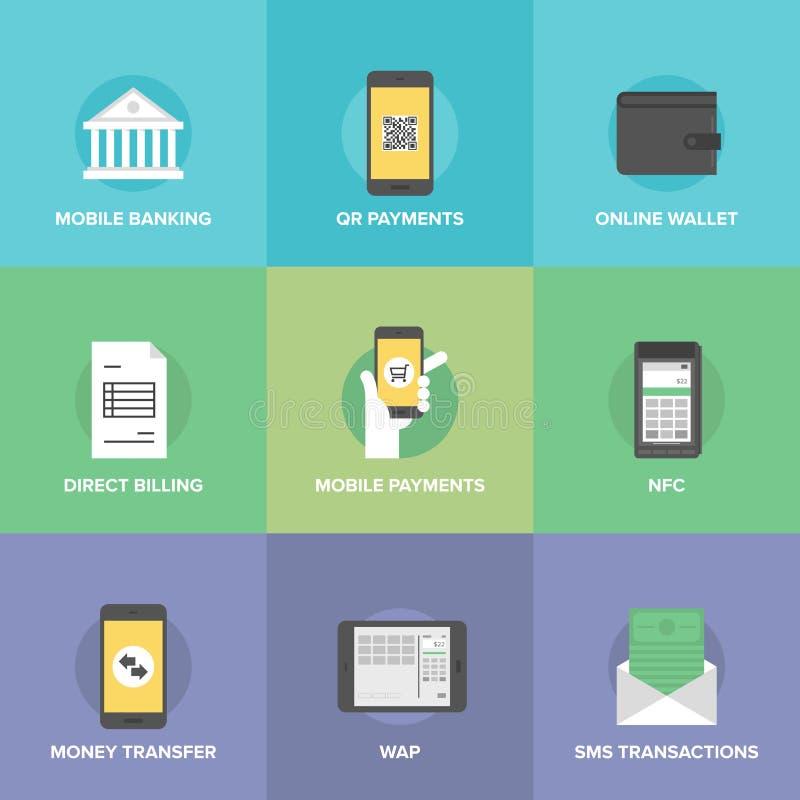 Icone piane di pagamenti mobili messe royalty illustrazione gratis