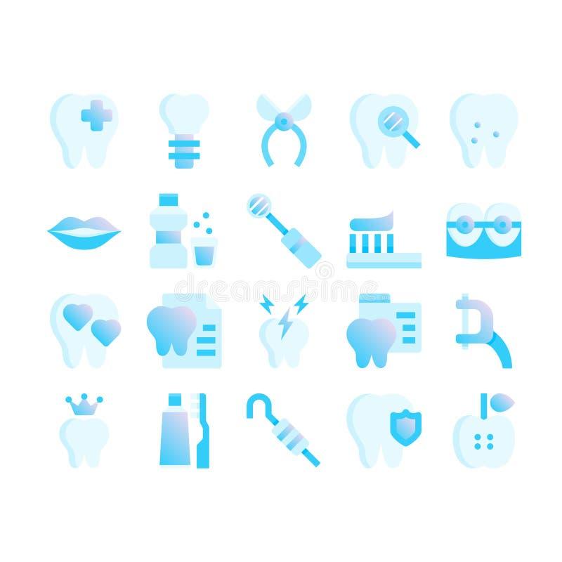 Icone piane di pendenza blu di cure odontoiatriche illustrazione vettoriale