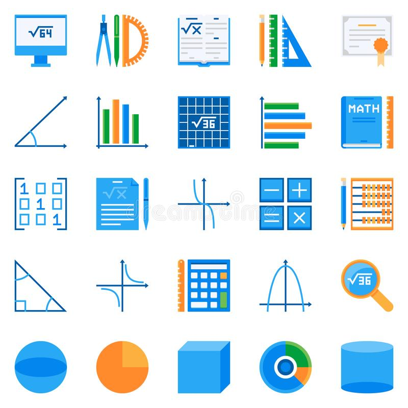 Icone piane di per la matematica Simboli variopinti di matematica di vettore illustrazione vettoriale
