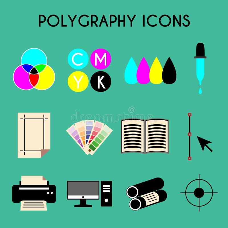 Icone piane di polygraphy di stampa a colori messe illustrazione di stock