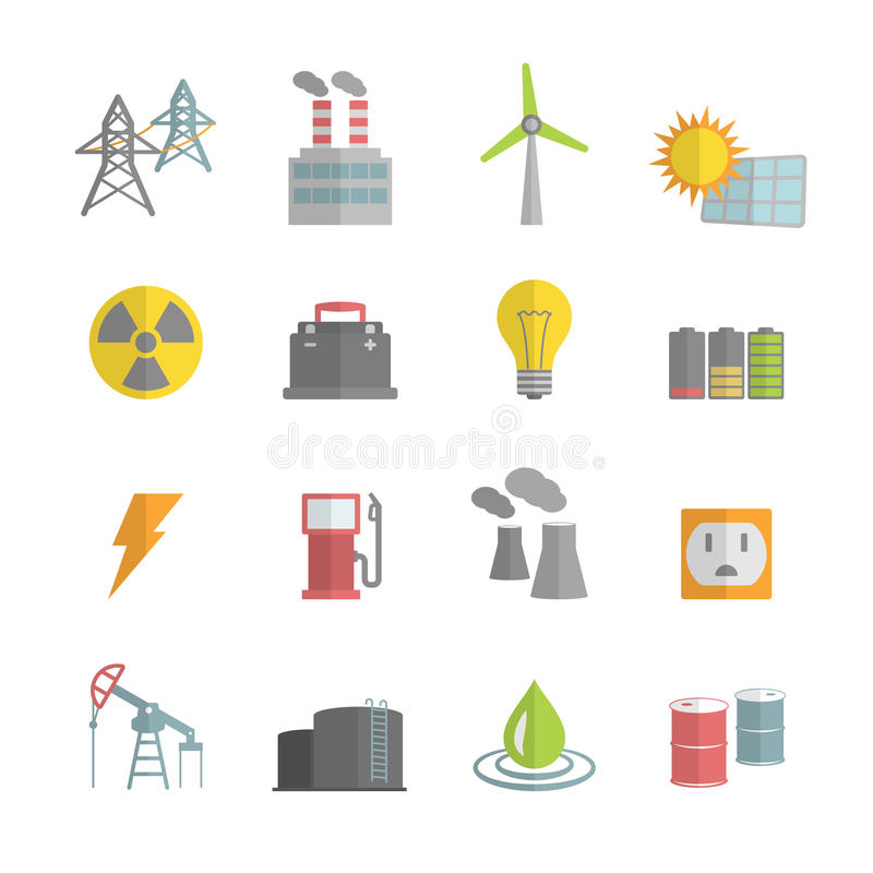Icone piane di potere di energia messe royalty illustrazione gratis