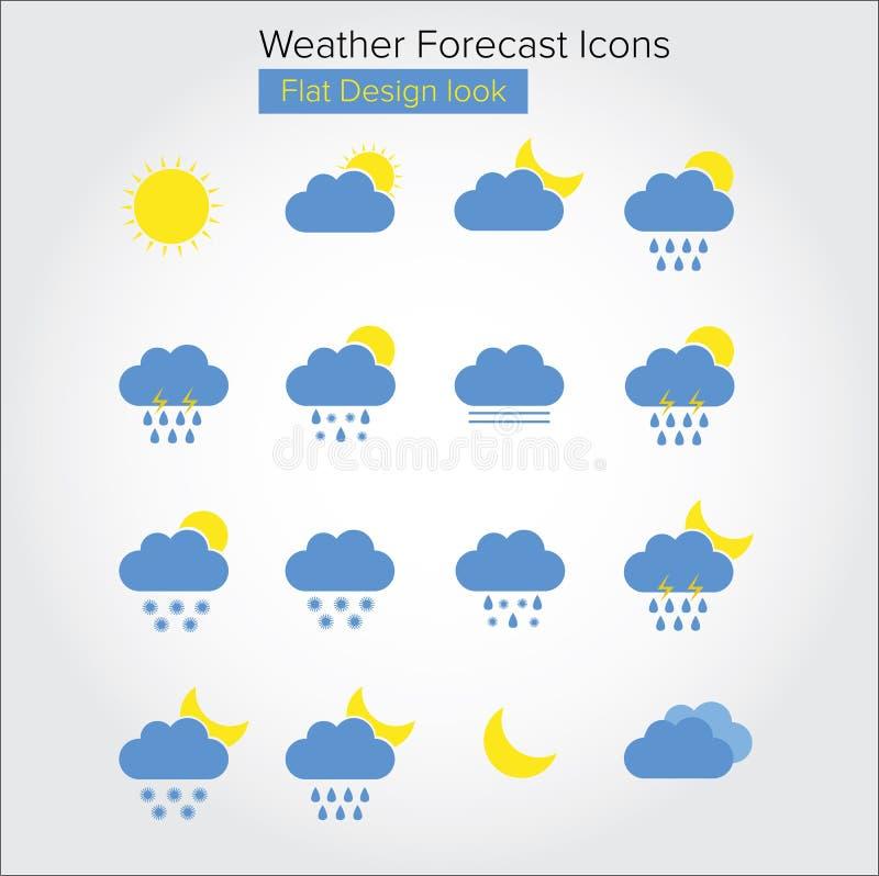 Icone piane di previsioni del tempo illustrazione vettoriale