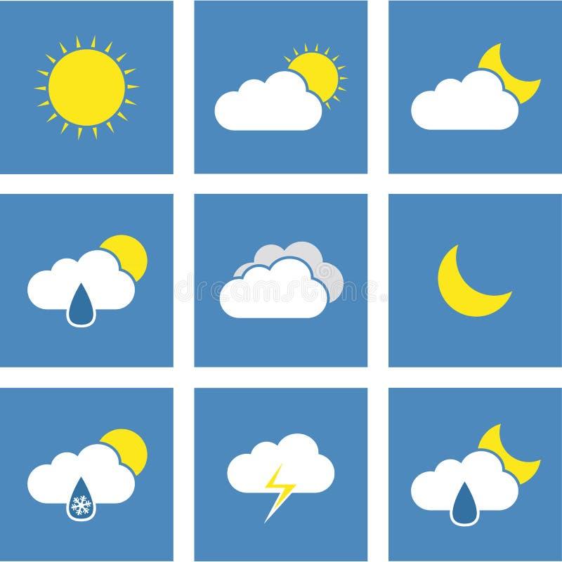 Icone piane di previsioni del tempo royalty illustrazione gratis