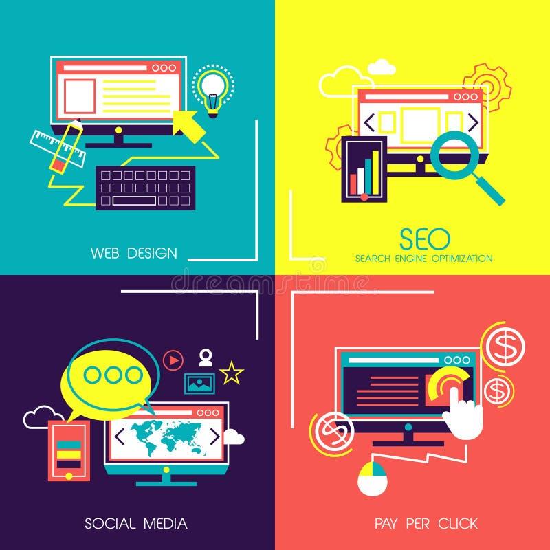 Icone piane di progettazione dei servizi del cellulare e di web illustrazione di stock
