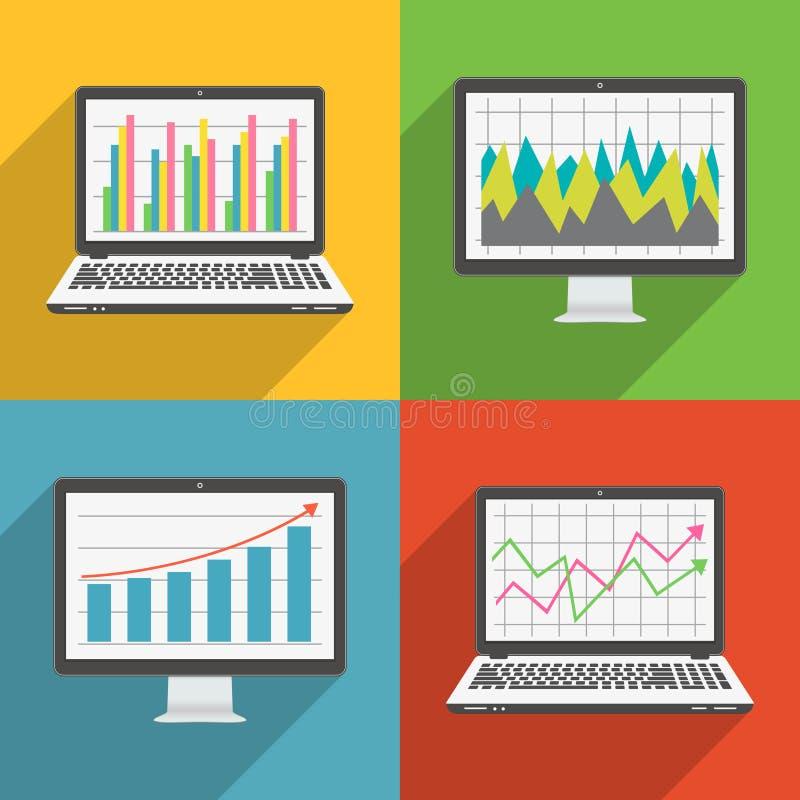 Icone piane di progettazione del computer portatile e dello schermo di computer con i grafici ed i grafici finanziari royalty illustrazione gratis