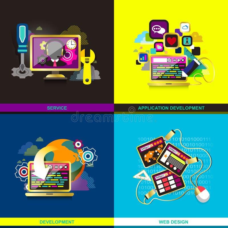 Icone piane di progettazione per i servizi di telefono cellulare e di web illustrazione di stock