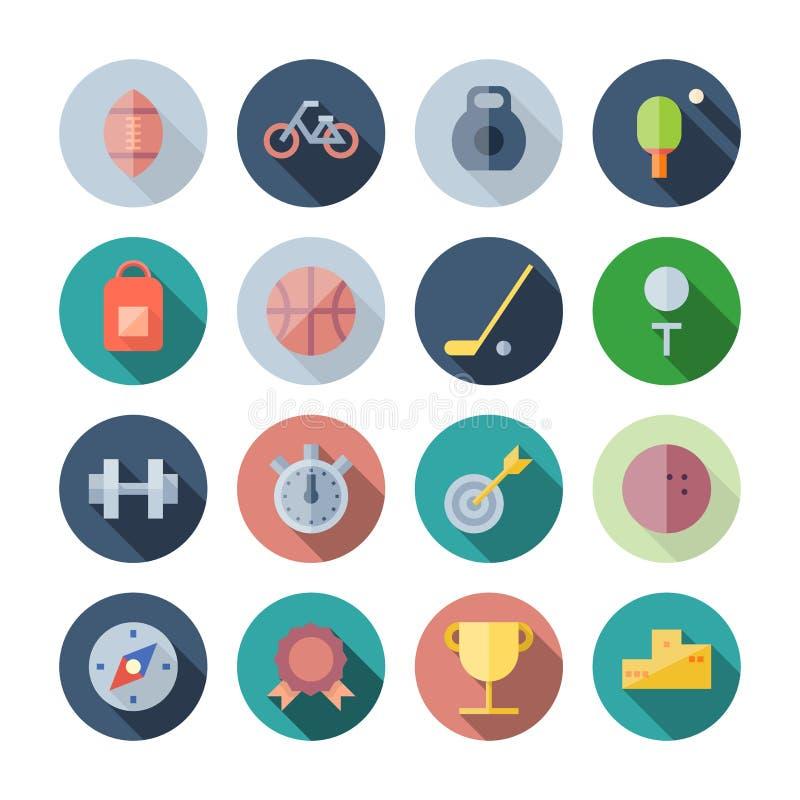 Icone piane di progettazione per lo sport e la forma fisica illustrazione vettoriale
