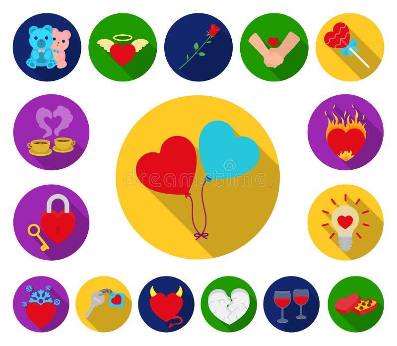 Icone piane di relazione romantica nella raccolta dell'insieme per progettazione L'amore e l'amicizia vector l'illustrazione di r illustrazione vettoriale