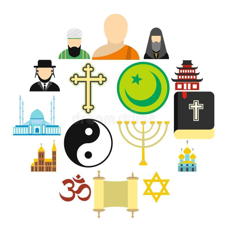 Icone piane di religione messe illustrazione vettoriale