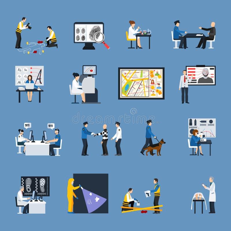 Icone piane di ricerca di crimine messe illustrazione vettoriale