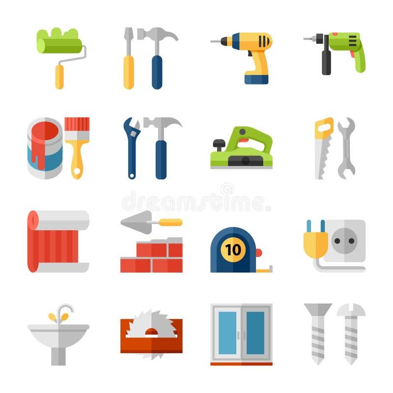 Icone piane di riparazione domestica messe illustrazione di stock