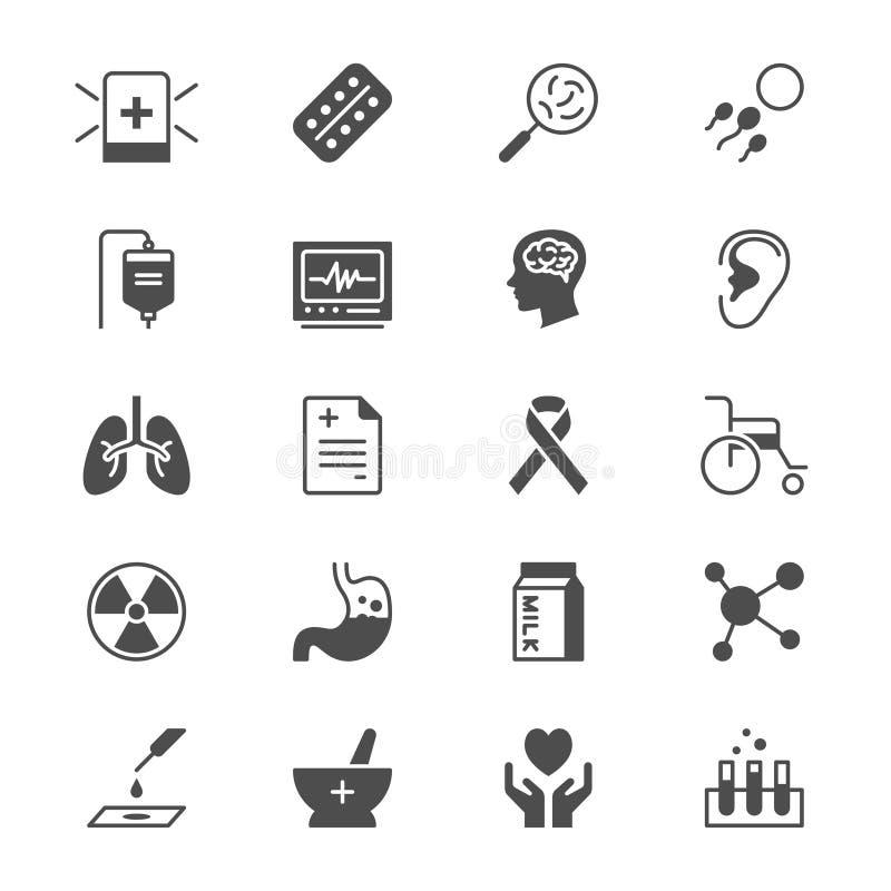 Icone piane di sanità royalty illustrazione gratis